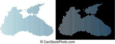 Black Sea Map Hex Tile Abstraction - Honeycomb Black Sea...