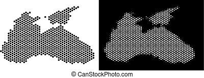 Black Sea Map Honeycomb Scheme - Honeycomb Black Sea map....
