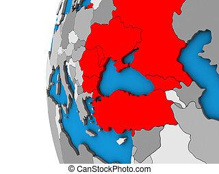 Black Sea Region on 3D globe