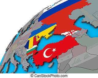 Black Sea Region with flags on 3D globe
