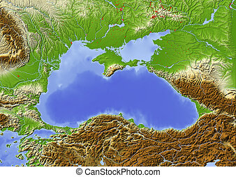 Black Sea, shaded relief map