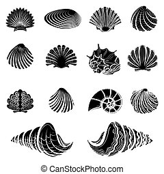 Black sea shells silhouettes collection isolated on white...