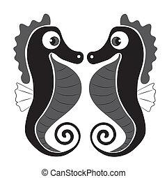 black seahorses - two beautiful seahorse with big eyes...