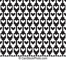 black seamless background, pattern with hearts