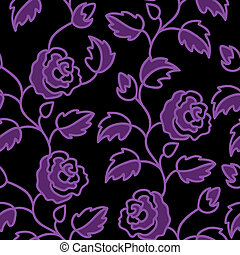 Black seamless background with roses