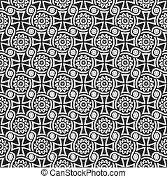 Black seamless floral wallpaper