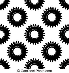 Black seamless gears or cogwheels pattern