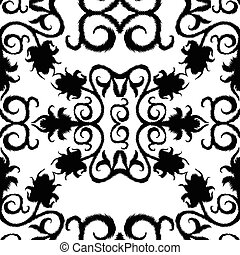 black seamless lace floral pattern on white background.