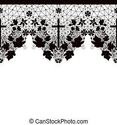Black seamless lace pattern on white