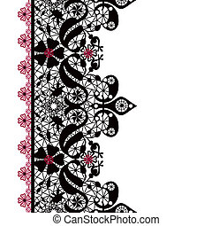 Black seamless lacy lace pattern on white background