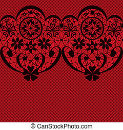 Black seamless lacy lace pattern texture on red