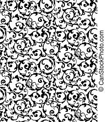 Black seamless pattern, vector silhouette