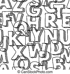 Black seamless pattern with letters of alphabet