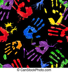 Black seamless pattern with multicolored paint hands -...