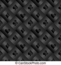 Black seamless pattern with poker card symbols