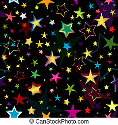 Black seamless pattern with stars
