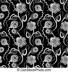 black seamless pattern with white  flower