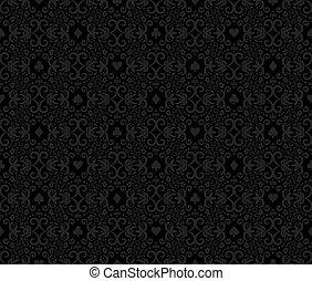 Black seamless poker background with darkgrey damask pattern and cards symbols