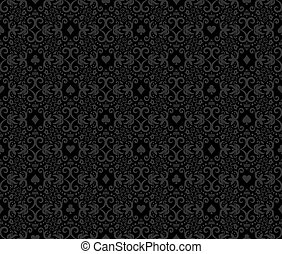 Black seamless poker background with white damask pattern and cards symbols