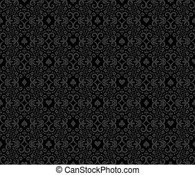 black , seamless, pook, achtergrond, met, witte , damast, model, en, kaarten, symbolen