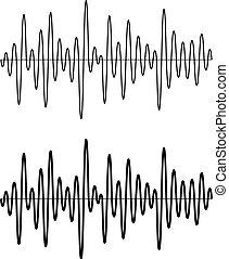 black seamless sinusoidal sound wave lines