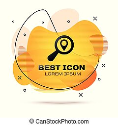 Black Search location icon isolated on white background. Magnifying glass with pointer sign. Fluid color banner. Vector Illustration