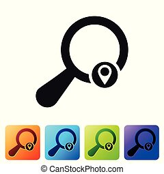 Black Search location icon isolated on white background. Magnifying glass with pointer sign. Set icon in color square buttons. Vector Illustration