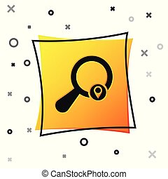 Black Search location icon isolated on white background. Magnifying glass with pointer sign. Yellow square button. Vector Illustration