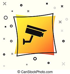 Black Security camera icon isolated on white background. Yellow square button. Vector Illustration