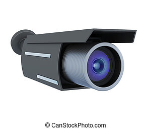 Black security camera isolated on white background. 3d rendering