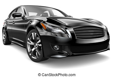 BLACK SEDAN - Black sedan on a white background