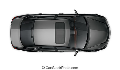 Black sedan - top view