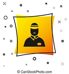Black Seller icon isolated on white background. Yellow square button. Vector Illustration