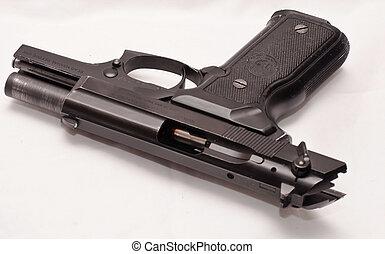 Black semi auto pistol - A black semi auto 40 caliber pistol...