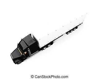 Black semi truck on white background - isolated semi truck...