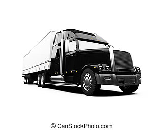 Black semi truck on white background