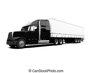 Black semi truck on white background - isolated semi truck ...