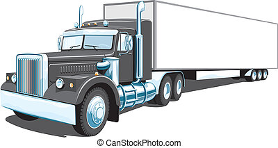 Vector isolated black semi truck on white background, without gradients.