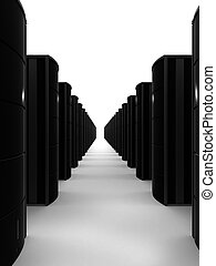 black server - 3d rendered illustration ,of servers standing...