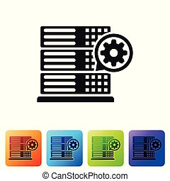 Black Server and gear icon isolated on white background. Adjusting app, service concept, setting options, maintenance, repair, fixing. Set icon in color square buttons. Vector Illustration