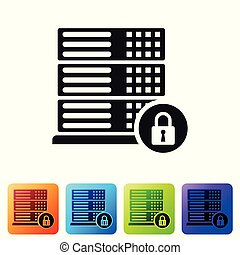 Black Server security with closed padlock icon isolated on white background. Security, safety, protection concept. Set icon in color square buttons. Vector Illustration