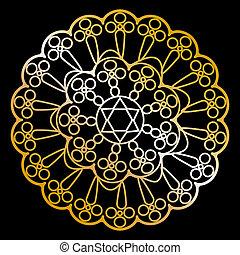 black , servet, goud, vector