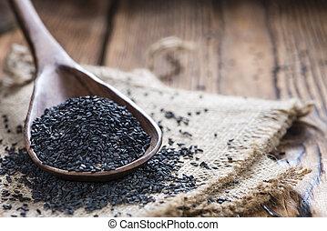 Black Sesame - Portion of black Sesame (detailed close-up...