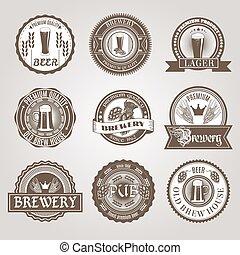 black , set, bier, etiketten