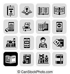black , set, boekjes , iconen