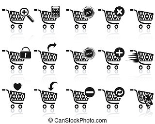 black , set, boodschappenwagentje, pictogram