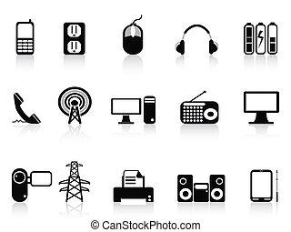 black , set, elektronisch, iconen