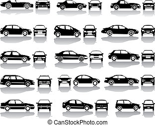 Black set of cars vector - Set icons - Black silhouettes of...