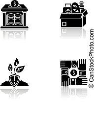 black , set, schaduw, iconen, glyph, druppel, activisme