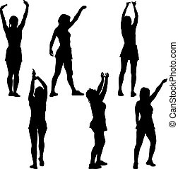 Black set silhouettes woman with arm raised on a white background